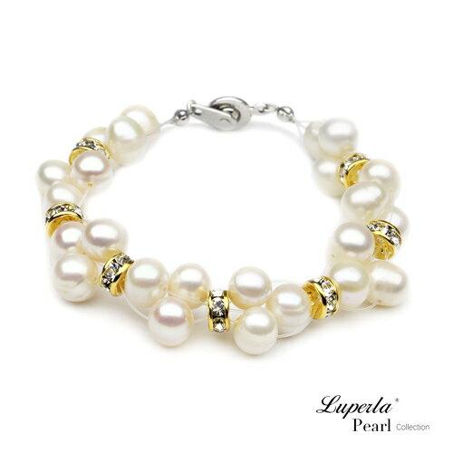 大東山珠寶 璀璨金鑽天然珍珠手鍊 微風漫舞