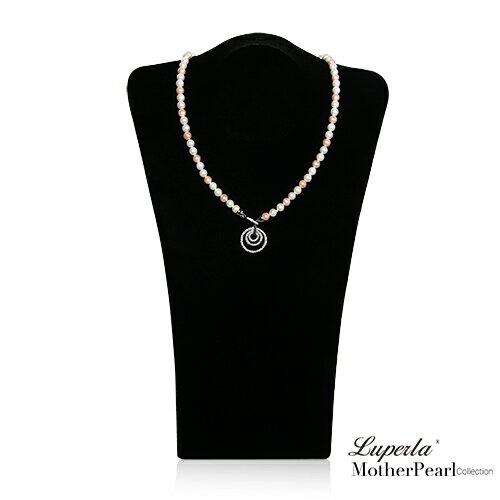 大東山珠寶 7mm南洋貝寶珠多層次變化款項鍊 氣質粉 設計師旗艦版