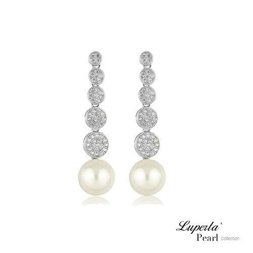大東山珠寶璀璨舞台純銀晶鑽珍珠耳環