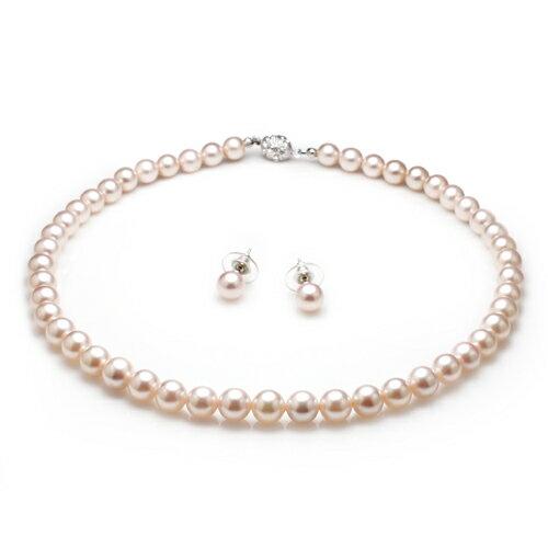 大東山珠寶 8mm南洋貝寶珠項鍊套組 粉