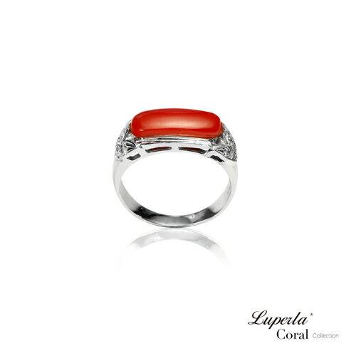 大東山珠寶 典藏 頂級深紅阿卡珊瑚真鑽14K白金戒指 1