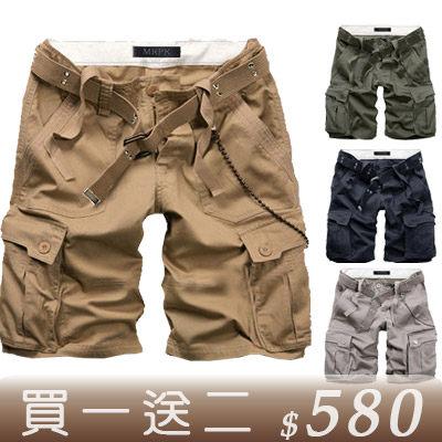 Free Shop【QTJ190】買一送二(襪子+皮帶) 美式休閒街頭立體口袋水洗工作短褲‧四色 類AF 海灘褲