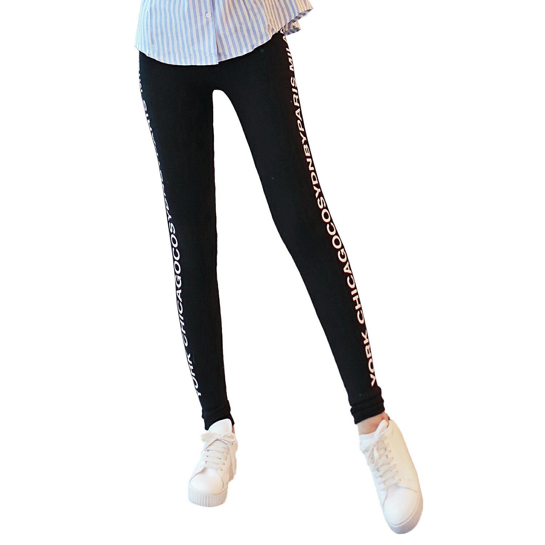 內搭褲--超高彈力運動風雙側英文印圖鬆緊腰頭窄管貼腿內搭褲(黑.灰XL-4L)-P128眼圈熊中大尺碼 1