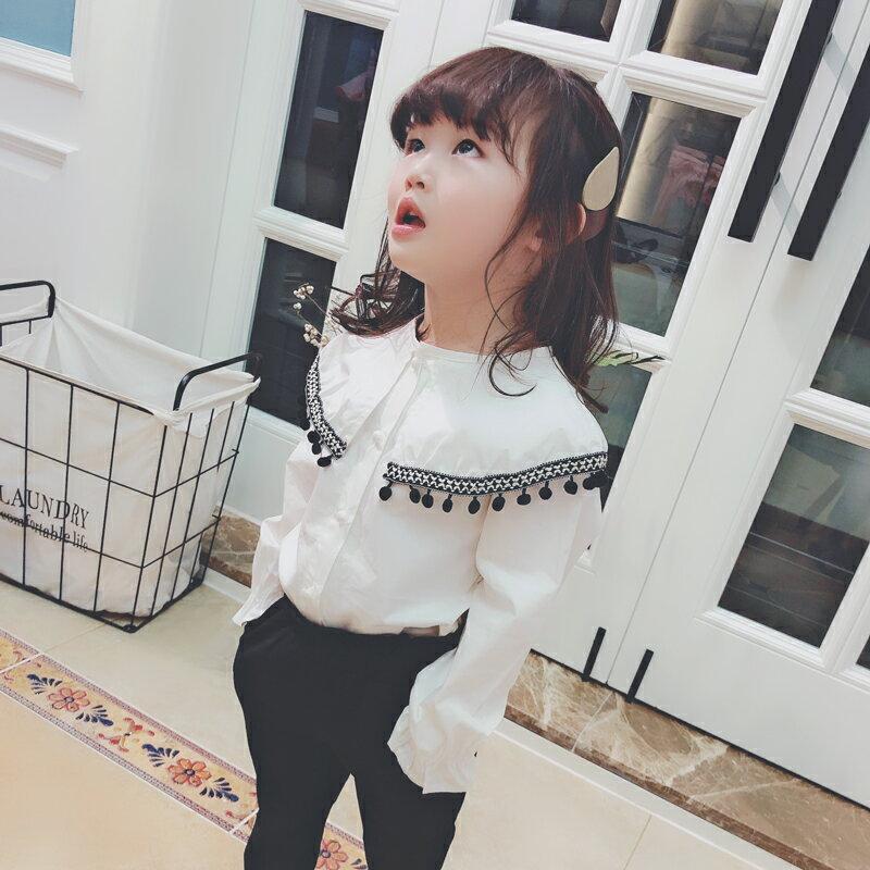 女童春季氣質襯衫 2019寶寶上衣花邊時尚可愛長袖中小童1入