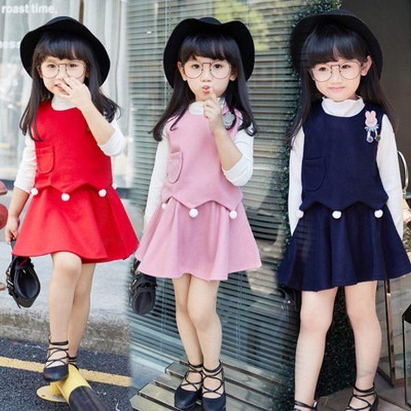 女童長袖套裝 小背心+上衣+短裙三件式童裝 MS2182 好娃娃
