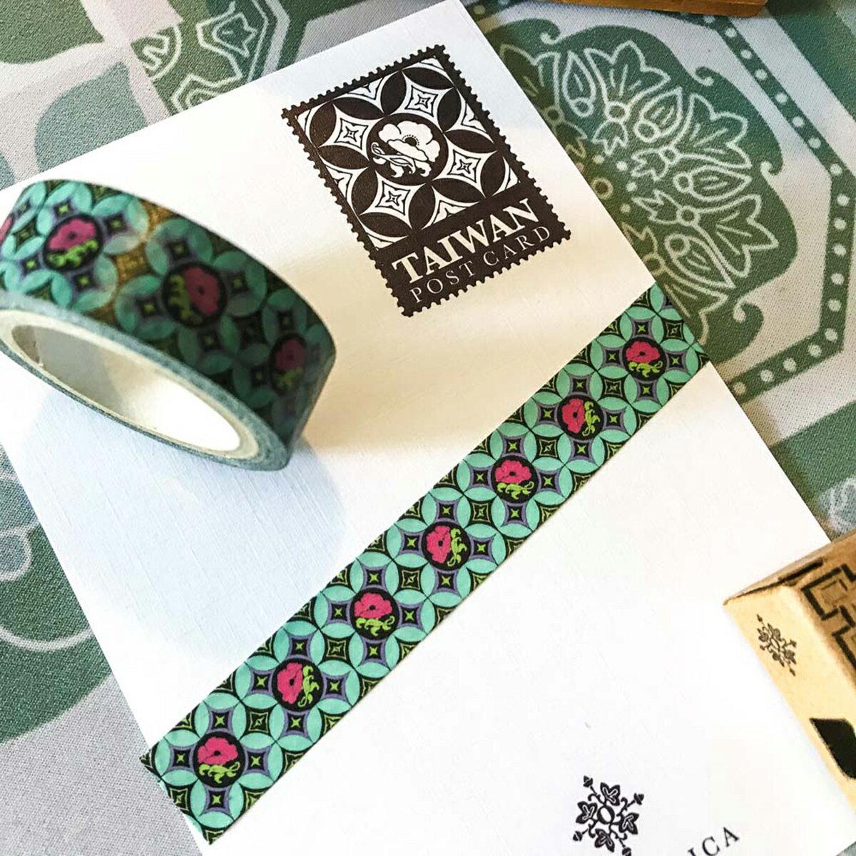 紙膠帶 - 星空下的罌粟花 花磚,台灣,捲毛力卡,四方連續,紙膠帶