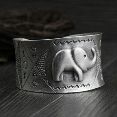 ~純銀手環 復古泰銀手鍊~ 大象浮雕生日情人節 女飾品73gg143~ ~~米蘭 ~