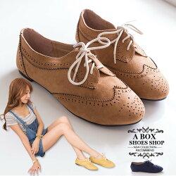 【KR502-18】英倫雕花時尚學院風復古 質感麂皮繫帶牛津鞋 平底包鞋 3色(36-42)