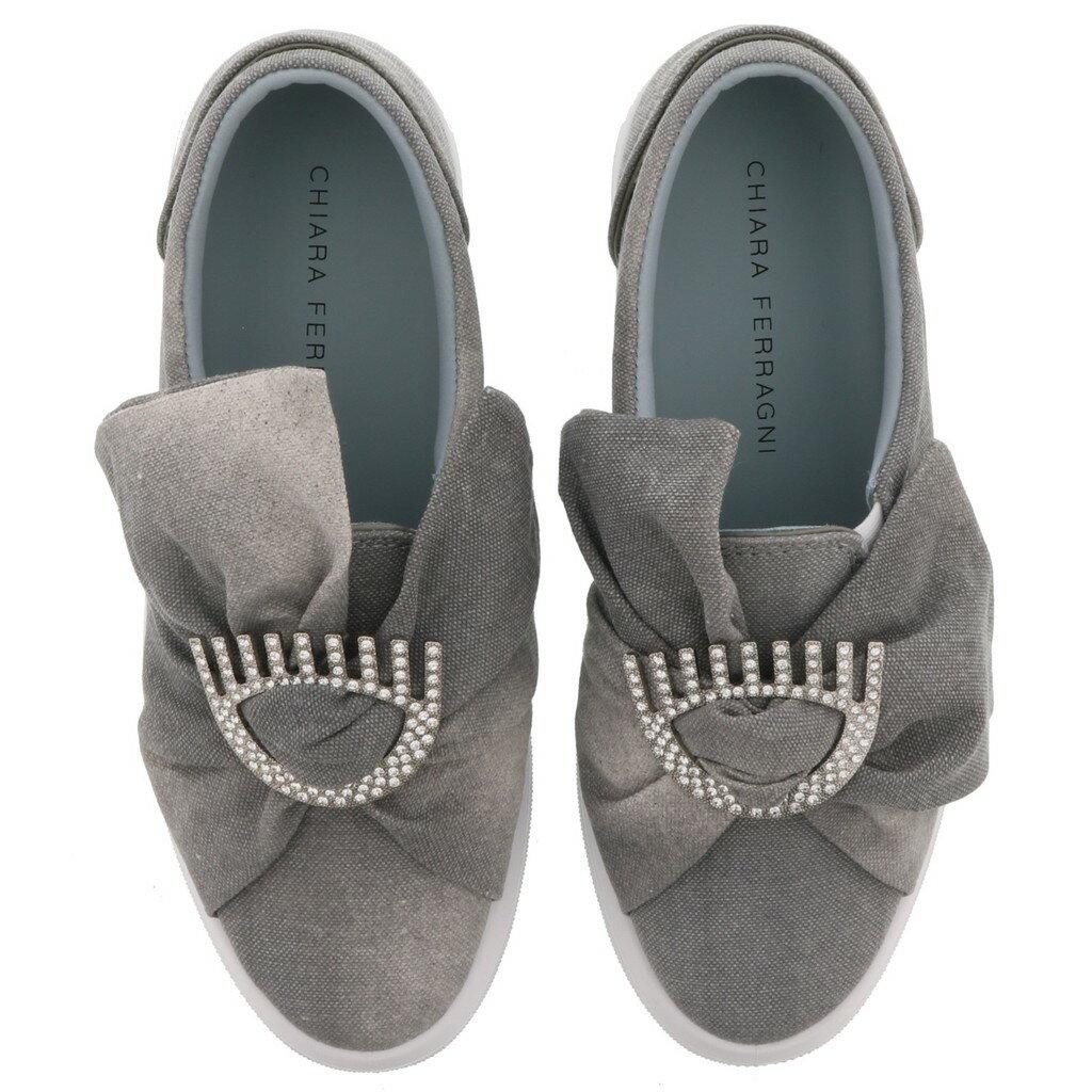 Chiara Ferragni CF1557 珍珠裝飾蝴蝶結厚底休閒鞋 灰色