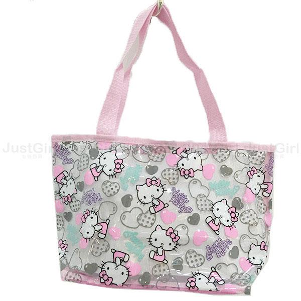 夏日 玩水必備 HELLO KITTY 海灘包 手提袋 購物袋 肩背包 防水布 配件 正版日本進口 JustGirl