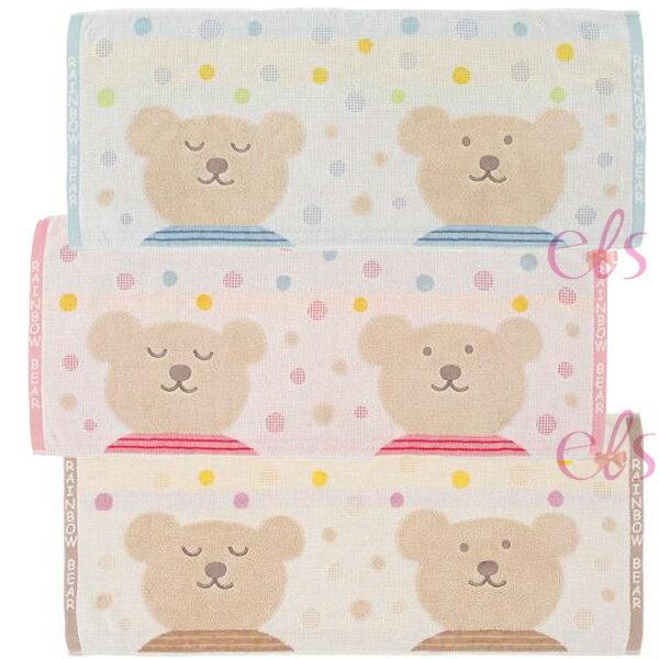 艾莉莎ELS:日本RAINBOWBEAR彩虹熊浴巾約35*80CM咖啡圓點粉紅圓點藍色圓點三款供選☆艾莉莎ELS☆