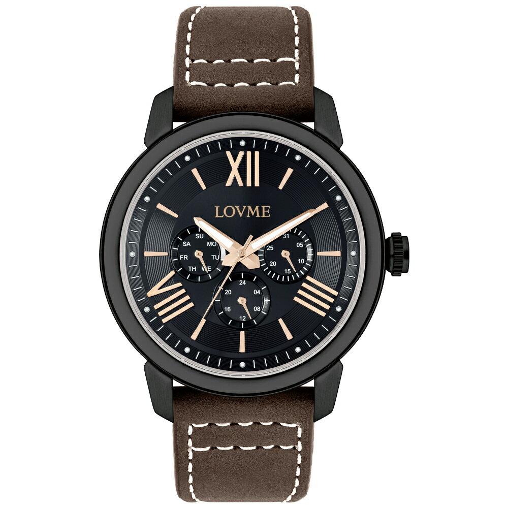 【易奇網】LOVME 經典羅馬風時尚婉錶-IP黑色錶殼x義大利皮革咖啡色錶帶x黑色帥氣立體玫瑰金羅馬字面板/45mm