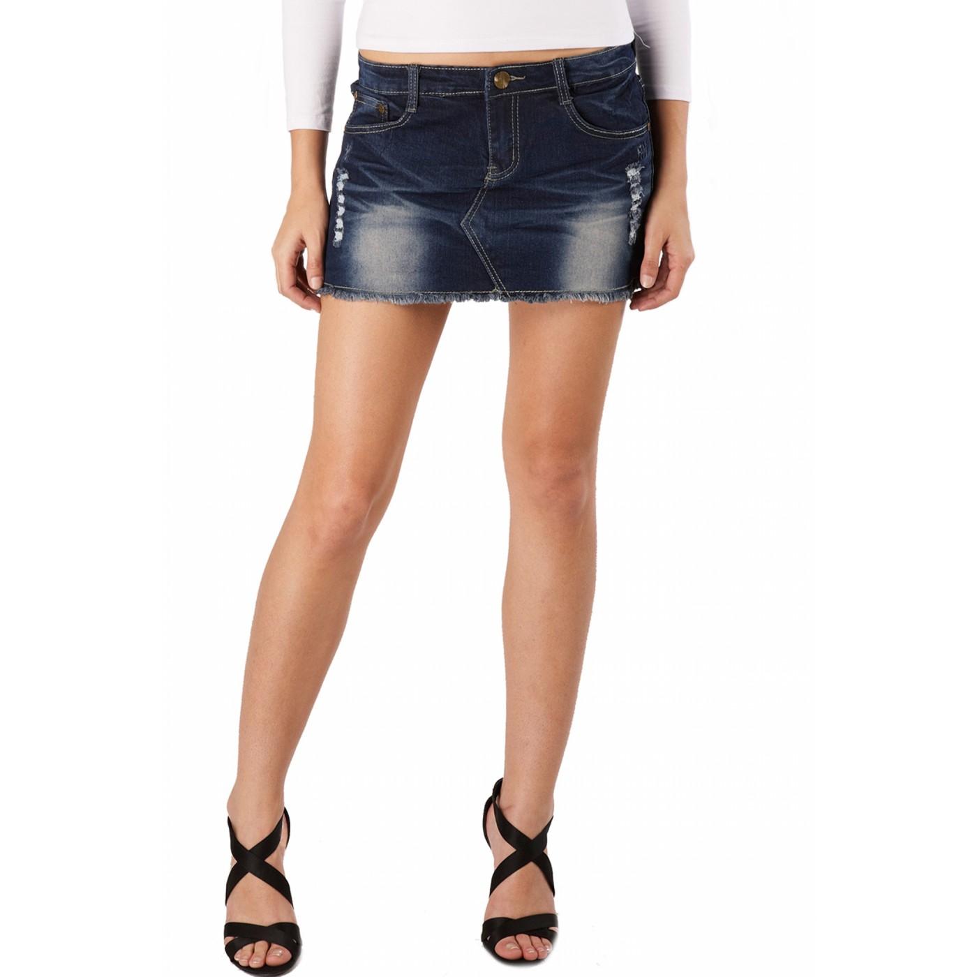 Luxury Lane Jessie G Womens Low Rise Distressed Denim Mini Skirt