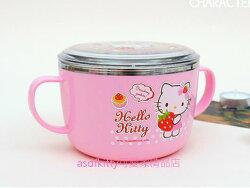 asdfkitty可愛家☆KITTY抱草莓粉紅色有蓋防燙304不鏽鋼有把手鋼碗XL號/大湯杯/湯碗-有防滑-韓國製