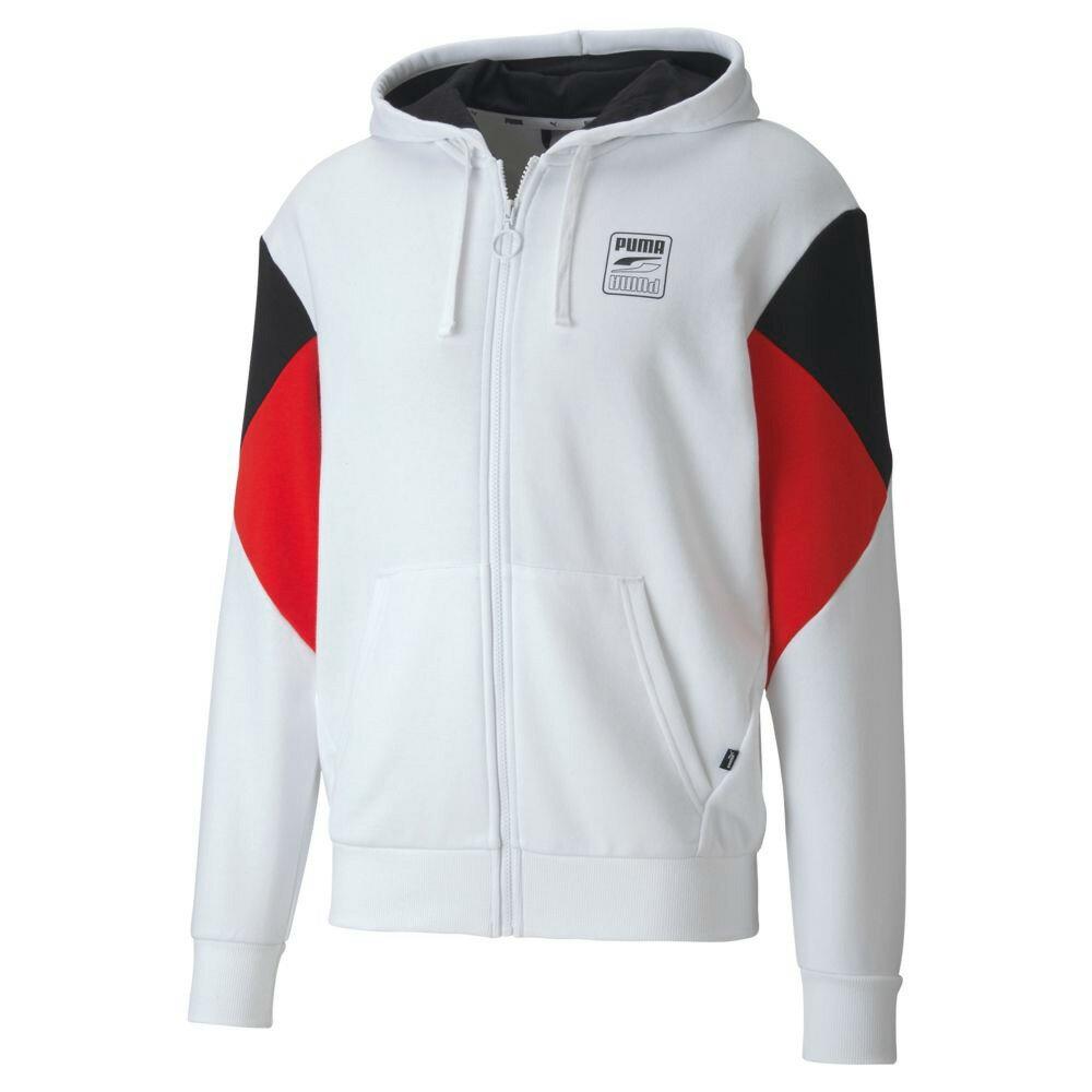 【領券最高折$400】PUMA Rebel 男裝 外套 夾克 連帽 抽繩 口袋 休閒 拼色 黑紅白【運動世界】58527802