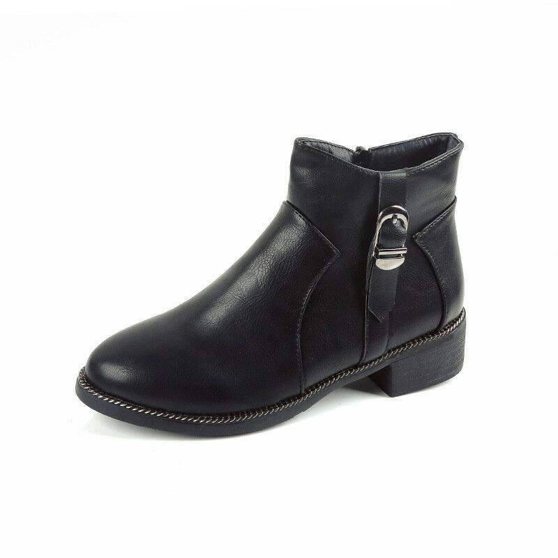 2016 女鞋馬丁靴英倫風女圓頭低跟短靴 金屬裝飾及裸靴 女靴黑色灰色