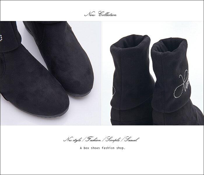 格子舖*【KNS719】嚴選高質感絨布氣質水鑽綴飾 5CM隱形內增高 短靴 短筒靴 黑色 1