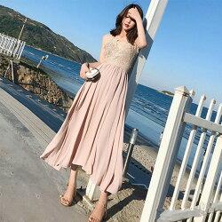 PS Mall 露背吊帶鏤空蕾絲連身裙 海邊度假沙灘裙 長裙 洋裝【T2398】