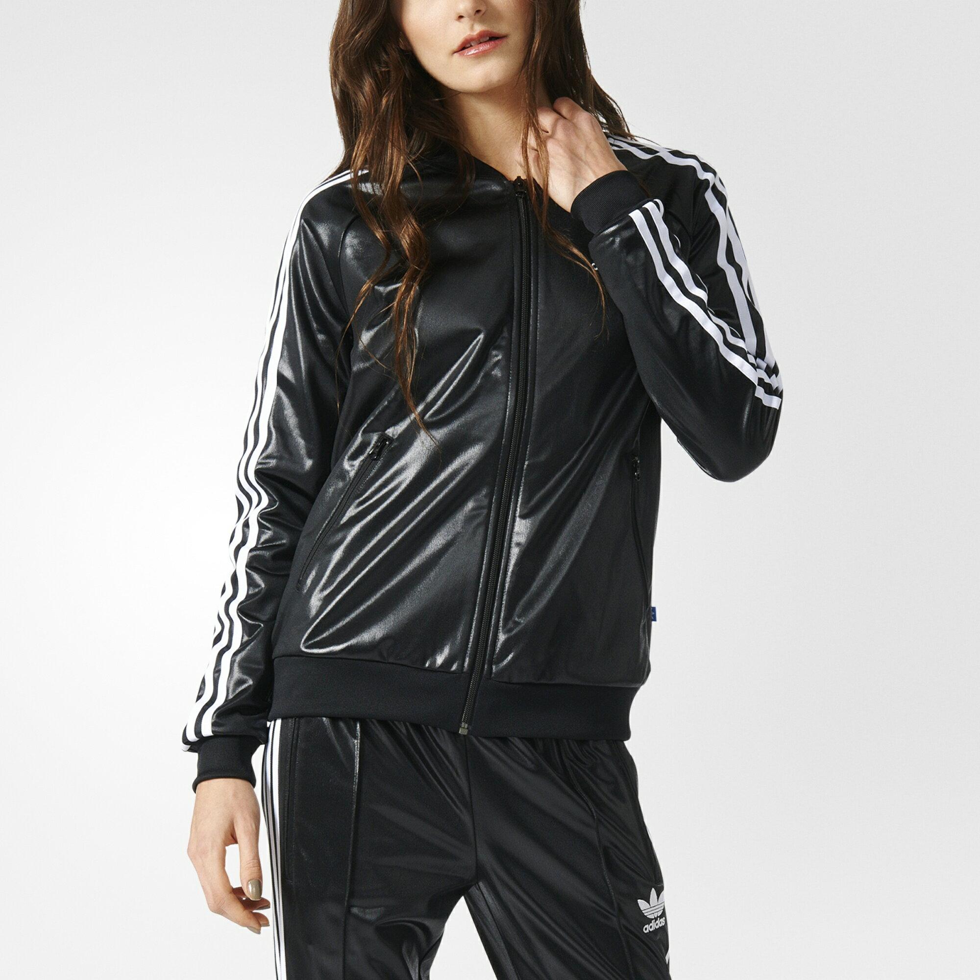 [尋寶趣]ADIDAS Originals 愛迪達 三葉草 黑色 黑白 皮 基本款 棒球外套 AY7892