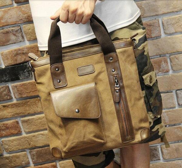 FINDSENSEZ1韓國時尚潮男休閒帆布大容量口袋款多功能手提包單肩包側背包電腦包公文包