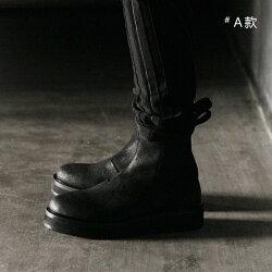FINDSENSE歐美暗黑切爾西靴男靴子牛皮厚底增高5cm男鞋夏季圓頭松糕休閒鞋 預購7天+現貨