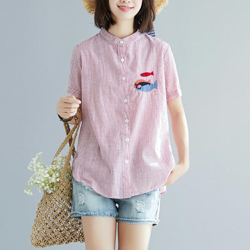 棉麻條紋刺繡小魚大碼短袖襯衫(2色M~2XL)【OREAD】 0
