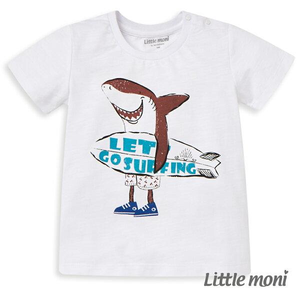 Littlemoni鯊魚衝浪短袖棉Tee-白色