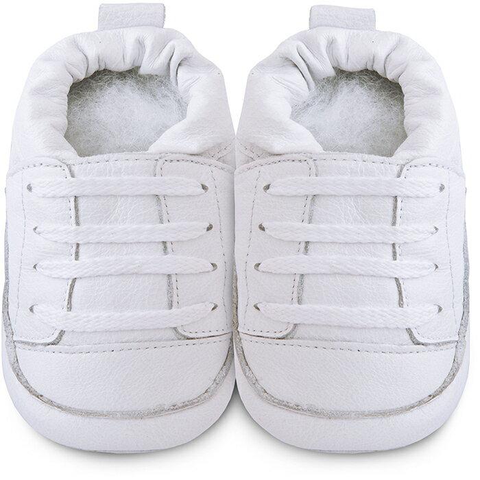 【hella 媽咪寶貝】英國 shooshoos 健康無毒真皮手工學步鞋/嬰兒鞋 純白運動型2 (SS102961)(公司貨)