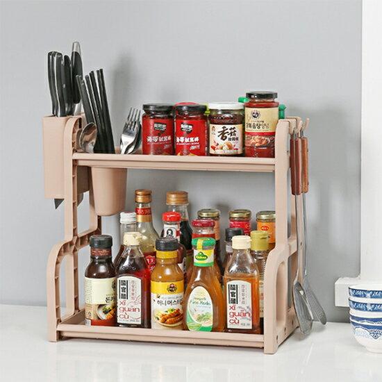 ♚MY COLOR♚多功能雙層收納置物架 廚房 調味架 砧板 收納架 調味罐 刀具 餐具 鍋具【W68】