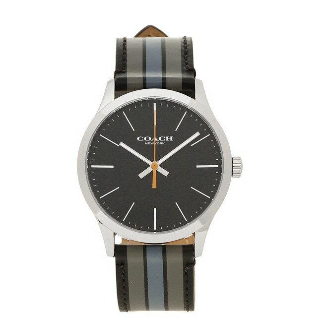 COACH W1545 黑色 條紋真皮錶帶 不鏽鋼錶殼 男錶 女錶 手錶 腕錶-現貨在台
