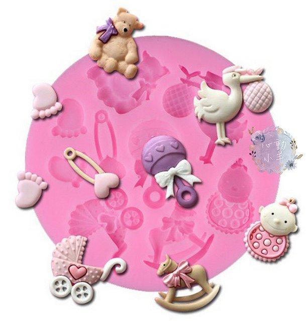 心動小羊^^DIY手工皂工具矽膠模具肥皂香皂模型矽膠皂模巧克力模彌月娃娃車木馬送子鳥翻糖模翻糖、香磚、迷你皂模