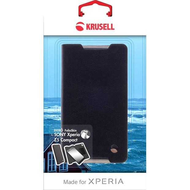 (贈專用保貼+支架)Krusell 側掀皮套/SONY Xperia Z5 Compact/黏式皮套/側翻套【馬尼通訊】