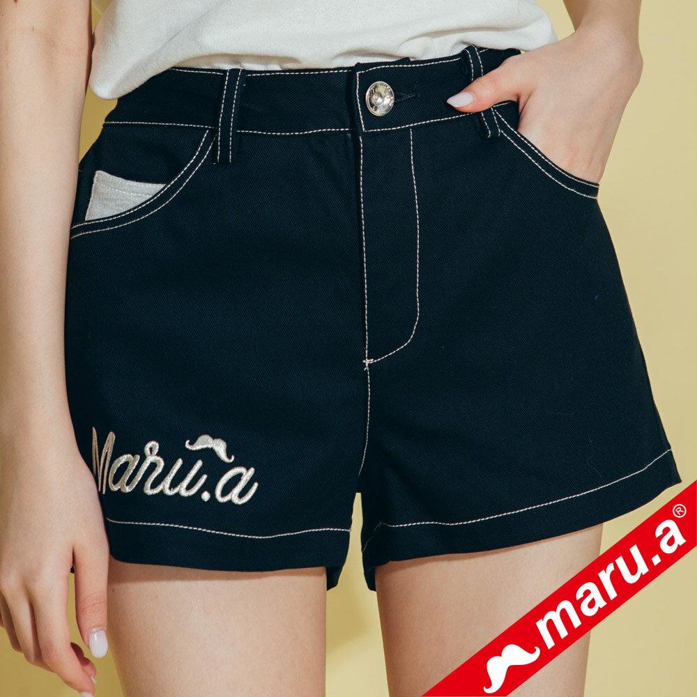 【maru.a】網路限定款*刺繡雙口袋皮標鬆緊帶短褲(2色)8985112 4