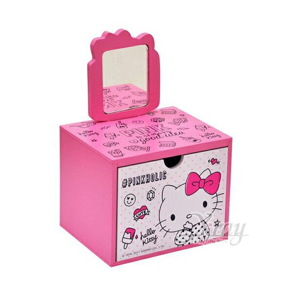 X射線【C991568】HelloKitty美妝手拿鏡抽屜盒,置物櫃收納櫃收納盒抽屜收納盒木製櫃木製收納櫃收納箱桌上收納盒