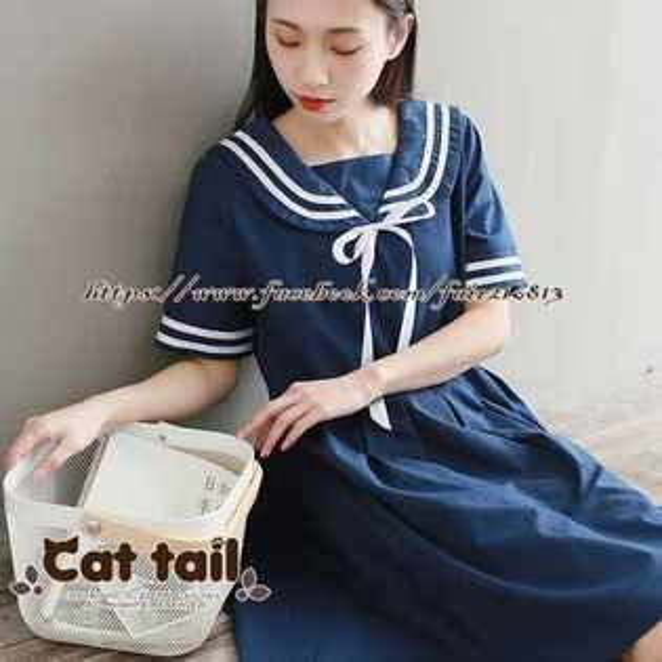 《貓尾巴》TS-0860學院風拼接短袖連身裙(森林系日系棉麻文青清新)