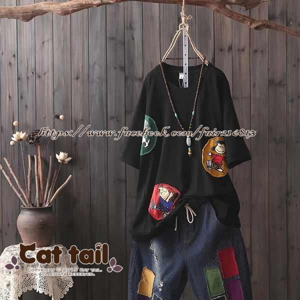 《貓尾巴》CH-01973日系休閒文意貼布印花短袖上衣(森林系日系棉麻文青清新)