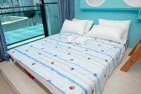 夏日寢具 涼感涼被到夏天最節能 精梳棉 節能涼感涼被 5X6.5尺 單人加大 海洋風就在大豐製棉推薦夏日寢具 涼感涼被
