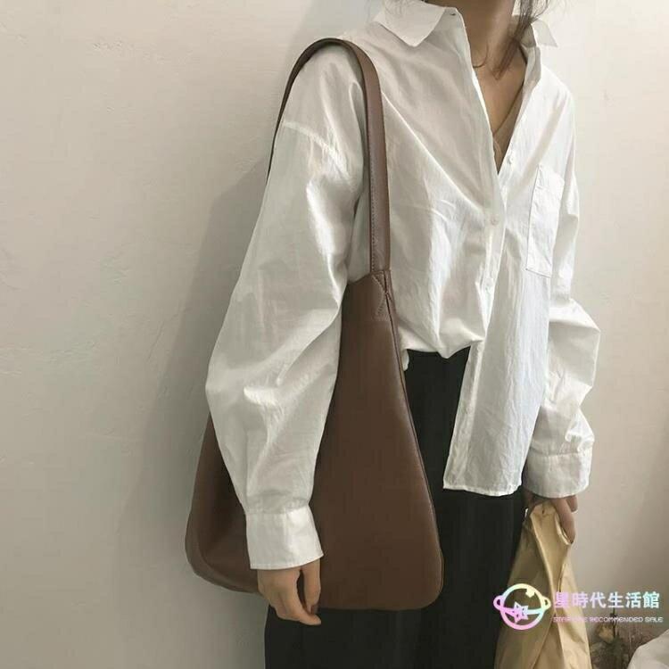 側背包 韓版懶散風大包包女新款復古時尚超軟水桶包休閑大容量側背包