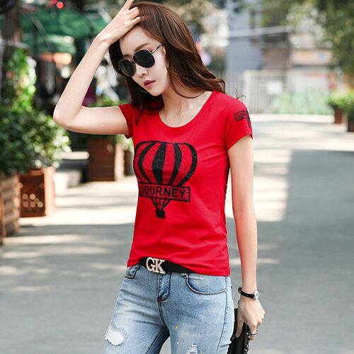 韓國修身顯瘦圓領燙鑽印花T恤(2色S~3XL)*ORead* 0