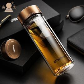 閃銀350ml送杯刷杯套富光玻璃杯創意水杯 透明帶蓋辦公家用雙層泡茶杯子耐熱便攜茶杯