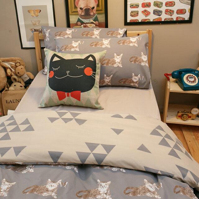 Iron cat 鐵灰小貓【床包駝色素色】單人/雙人熱賣組  舒適磨毛布 台灣製造 5