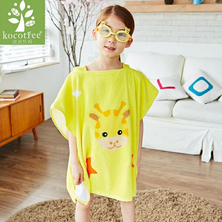 Lemonkid◆可愛動物小鹿長頸鹿卡通造型兒童連帽浴袍-黃色