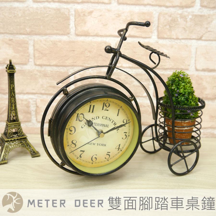 工業風腳踏車造型雙面座鐘 鐵藝花架桌鐘 歐式復古筆筒置物收納功能 三輪車靜音時鐘 桌面擺飾櫥窗店面裝飾禮物時鐘