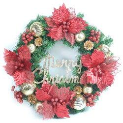 【摩達客】20吋大浪漫歐系聖誕花裝飾綠色聖誕花圈(紅金經典系)(台灣手工組裝出貨) 本島免運費 YS-GW20007