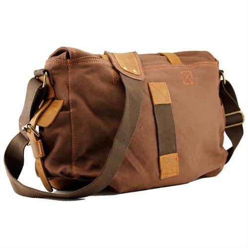 Men s Vintage Canvas and Leather Satchel School Military Shoulder Bag  Messenger - Coffee 1 2b45a63e55
