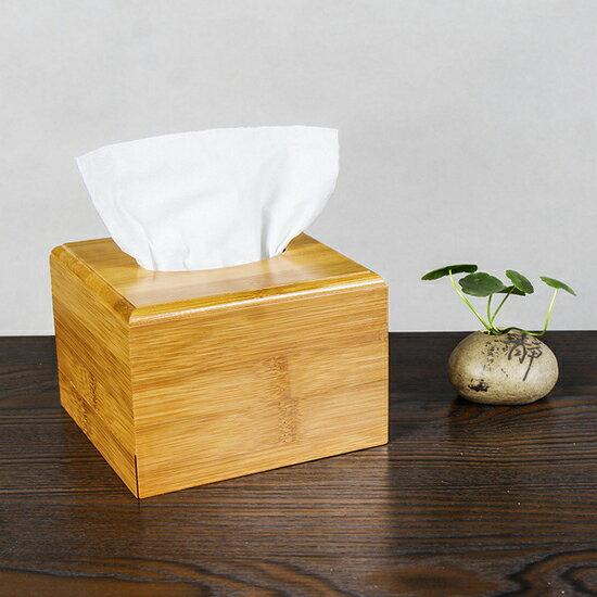 ♚MY COLOR♚簡約竹制面紙盒^(小^) 抽取 桌面 抽紙 衛生紙 餐巾 浴室 餐廳