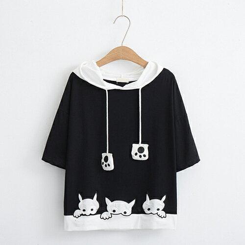 *ORead*卡通貓咪刺繡短袖連帽衫(3色M~L) 2