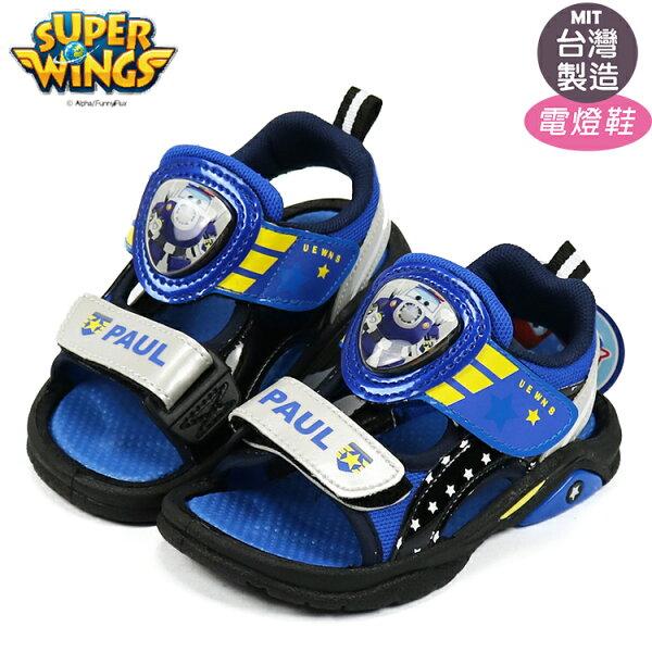超級飛俠SuperWings包警長可調整魔鬼氈閃亮電燈涼鞋.兒童涼鞋黑15-20號~EMMA商城