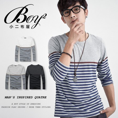 ☆BOY-2☆ 【PPK86001】韓版休閒條紋長袖T恤 1