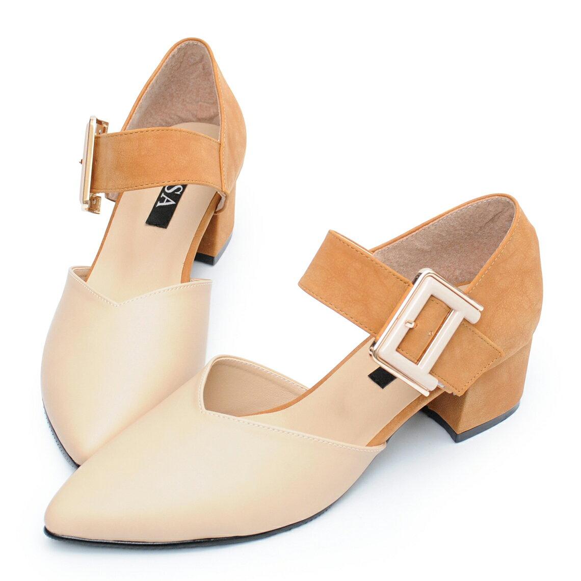 尖頭鞋 時尚大金扣千鳥格低跟鞋-米棕